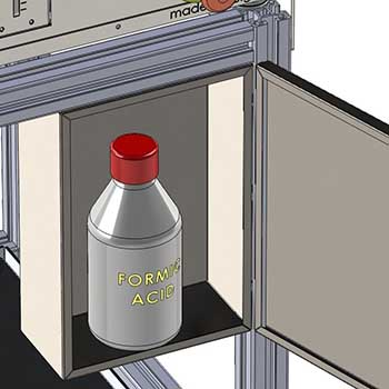 Formic acid refill container placed on mounting rack