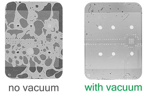 x-ray comparison between atmospheric and vacuum soldering